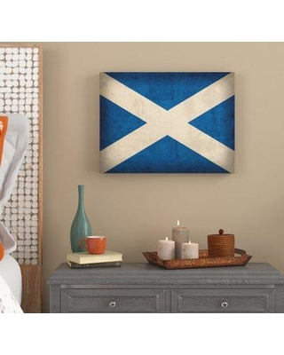 """World Menagerie 'Scotland Distressed Flag' Graphic Art Print on Wrapped Canvas WRMG6871 Size: 24"""" H x 32"""" W x 2"""" D"""