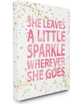 """She Leaves A Little Sparke Stretched Canvas Wall Art (16""""x20""""x1.5) - Stupell Industries, Pink"""