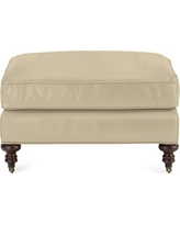 Bedford Ottoman, Faux Suede, Solid, Champagne
