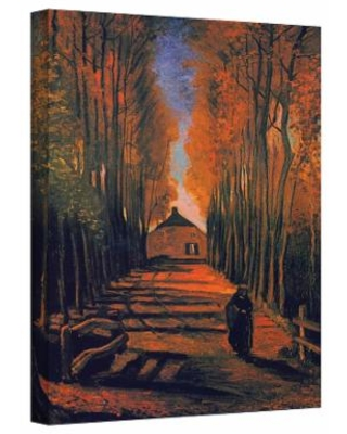 """""""24'' x 18'' ''Avenue of Poplars in Autumn"""" Canvas Wall Art by Vincent van Gogh, Red, Medium"""""""