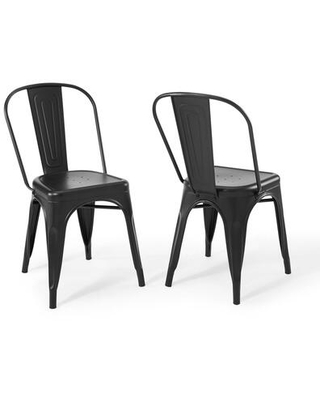 Promenade Collection EEI-3859-BLK Bistro Dining Side Chair Set of 2 in Black