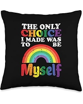 Gay Pride Pillows LGBTQ Ally LGBT Men Women Gift Only Choice I Made Be Myself Rainbow Gay Pride Flag LGBTQ Throw Pillow, 16x16, Multicolor