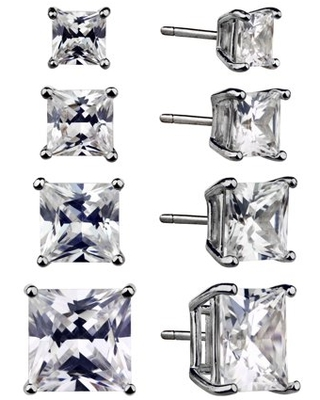 TRULY RADIANT STERLING SILVER RH CZ SQUARE QUAD EARRING