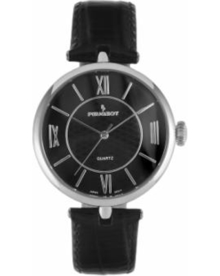 Peugeot Women's Leather Watch, Black