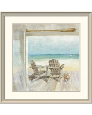 "East Urban Home 'Seaside Morning Crop' Print ESUM8124 Size: 33.25"" H x 33.25"" W Format: White Framed"