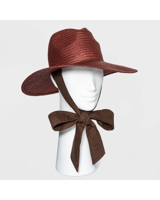 Women's Straw Panama Hat with Ties - Universal Thread Rust, Red