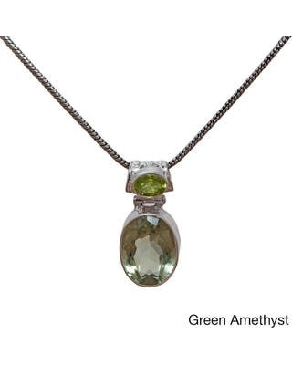 Handcrafted Sterling Silver Double Gemstone Pendant (India) (Green - Amethyst)