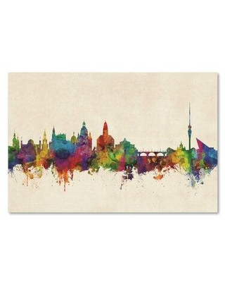 "Wrought Studio 'Dresden Germany Skyline III' Graphic Art Print on Wrapped Canvas W001002215 Size: 12"" H x 19"" W"