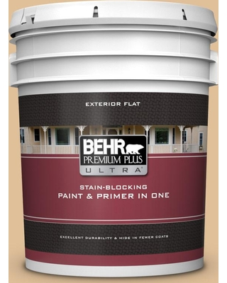 BEHR ULTRA 5 gal. #300E-3 Clair De Lune Flat Exterior Paint and Primer in One