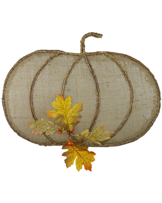 Northlight 14 in. Beige Burlap and Vine Pumpkin Fall Harvest Wall Hanging Decor
