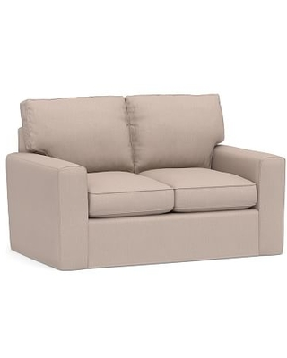 """Pearce Square Arm Slipcovered Loveseat 62"""", Down Blend Wrapped Cushions, Performance Heathered Tweed Desert"""