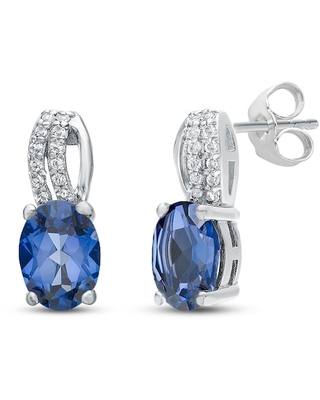 Jared The Galleria Of Jewelry Lab-Created Sapphire Earrings Oval Sterling Silver