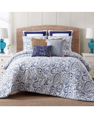 Indienne Paisley Full/Queen Duvet Cover Set in Blue/White