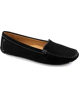 Driver Club USA Women's Leather Made in Brazil Hampton Loafer Driving Style, Black Nubuck, 10.5 B(M) US