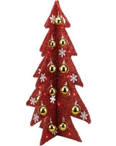 Northlight Battery Operated Decorated Tinsel LED Lighted Christmas Tree Table Top Decoration 31748743 / 31748760 Color: Red