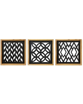 (Set of 3) Modern Wood and Metal Laser Cut Wall Decor - Stratton Home Decor