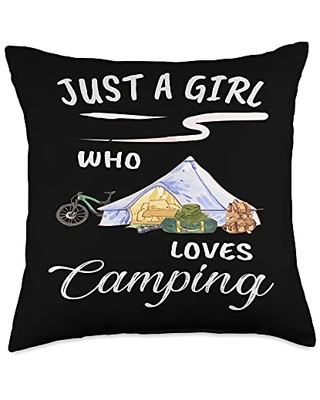 TeePrincess Cute Art Watercolor Just A Girl Who Loves Camping Throw Pillow, 18x18, Multicolor