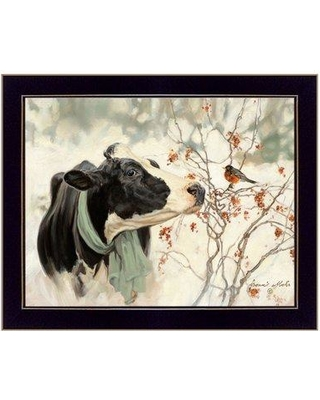 "August Grove 'The Winter Robin' Framed Acrylic Painting Print BF095133 Size: 14"" H x 18"" W x 1"" D Format: Black Framed"