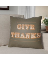 """The Holiday Aisle Give Thanks Square Indoor/Outdoor Throw Pillow THDA8980 Size: 20"""" H x 20"""" W x 4"""" D, Color: Brown/Orange"""