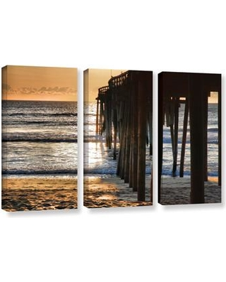 ArtWall Fishing Pier by Steve Ainsworth 3 Piece Photographic Print on Gallery Wrapped Canvas Set 0ain052c3654w
