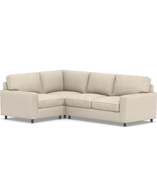 PB Comfort Square Arm Upholstered Right Arm 3-Piece Corner Sectional, Box Edge Memory Foam Cushions, Performance Chateau Basketweave Oatmeal