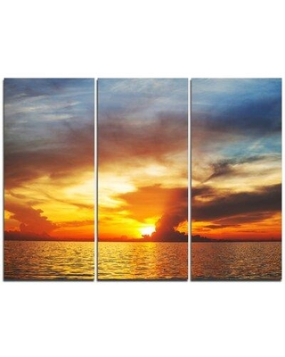 Design Art Fiery Sky at Sunset Over Sea - 3 Piece Photographic Print on Wrapped Canvas Set PT10885-3P