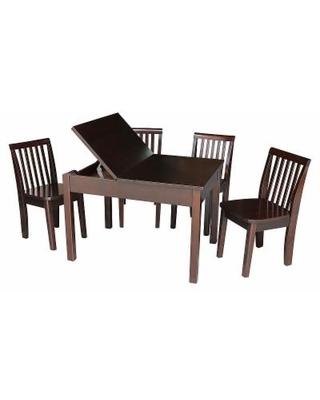 International Concepts Juvenile 5-piece Dining Table & Mission Chair Set, Brown