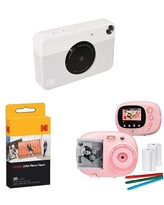 KODAK PRINTOMATIC Digital Instant Print Camera (Yellow), with Extra Paper and Kids Instant Print Camera & Video Camcorder Bundle with Frames, Filters for Hours of Fun - Pink