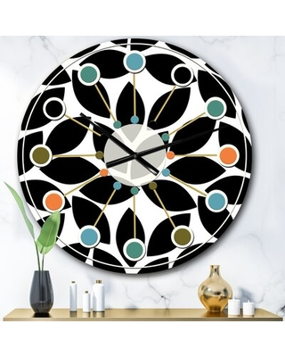 Oversized Monochrome Geometric XII Mid-Century Wall Clock East Urban Home Size: Large