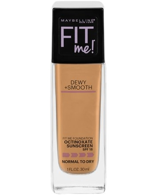 Maybelline Fit Me Dewy + Smooth Liquid Foundation Makeup with SPF 18, Golden Beige, 1 fl oz