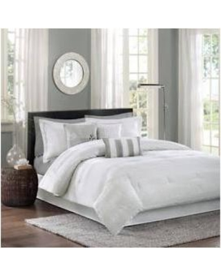 Madison Park Hampton Queen 7 Piece Comforter Set in White - Olliix MP10-1029