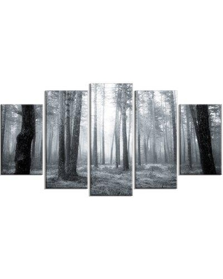 Design Art 'Black and White Foggy Forest' 5 Piece Photographic Print on Wrapped Canvas Set PT14756-373