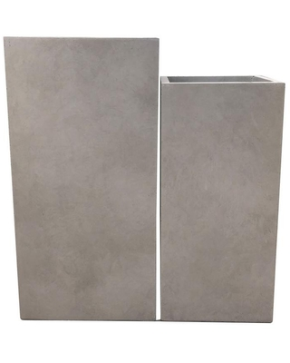 KANTE 28 in. and 24 in. Tall Weathered Concrete Lightweight Durable Modern Square Outdoor Planter Set