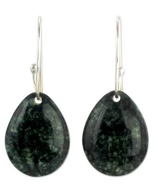 Artisan Crafted Jade and Sterling Silver Earrings