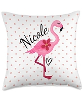 Personalized Gifts Pink Flamingo By HustlaGirl Nicole Personalized Gifts Pink Flamingo Throw Pillow, 18x18, Multicolor