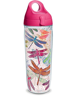 Tervis Dragonfly Mandala Tumbler with Wrap and Passion Pink Lid 24oz Water Bottle, Clear