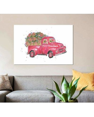"""East Urban Home 'Flower Truck IV' Graphic Art Print on Canvas EBHS6837 Size: 26"""" H x 40"""" W x 1.5"""" D"""