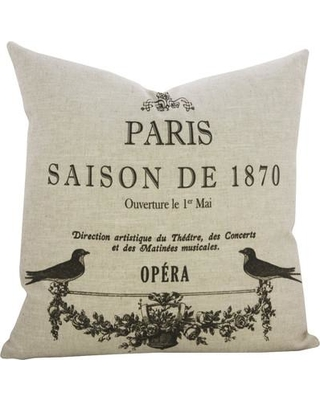 TheWatsonShop Paris Birds Linen Throw Pillow CL_PARISSAISBLK_20