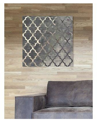 """Oliver Gal Oliver Gal 'Arabesque Silver Abstract Art' Wrapped Canvas Print 11489_ Size: 20"""" H x 20"""" W"""