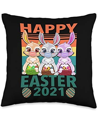 Deals For Love Easter Easter Bunny Happy Bunny Easter 2021 Throw Pillow 16x16 Multicolor