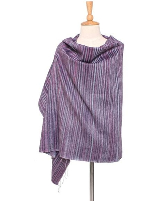 Striped Silk and Cotton Blend Shawl in Pink from Thailand