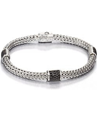 John Hardy Women's Classic Chain Sterling Silver & Gemstone Four-Station Pusher-Clasp Extra-SmallBracelet - Black Sapphire - Size Medium