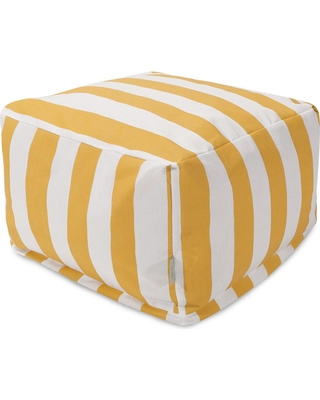 Majestic Home Goods Yellow Vertical Stripe Indoor/Outdoor Ottoman Cushion