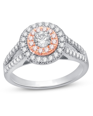 Pink/White Diamond Engagement Ring 3/4 ct tw 14K Two-Tone Gold