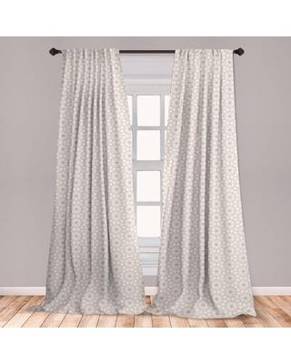 Ambesonne Moroccan Curtains, Classical Line Pattern Middle Cultures With Stars Oriental Motifs, Window Treatments 2 Panel Set For Living Room Bedroom