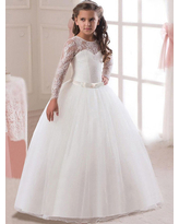 Milanoo White Flower Girl Dresses Princess Pageant Dress Long Sleeve Lace Ball Gowns Kids Bow Sash Floor Length Long Party Dress