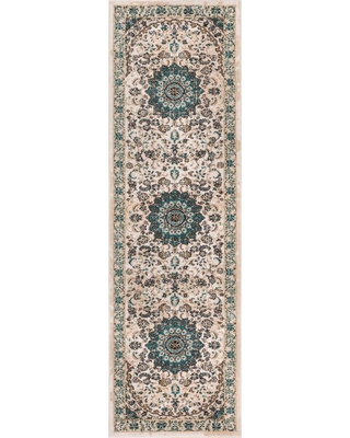 Well Woven Luxury Mahal Beige 2 ft. x 8 ft. Traditional Medallion Vintage Distressed Runner Rug