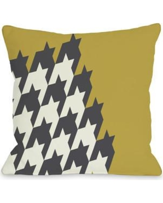 """One Bella Casa Harry Half Houndstooth Throw Pillow 72 Size: 18"""" H x 18"""" W Color: Oil Yellow"""