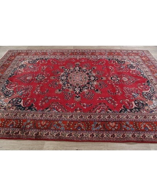 """One-of-a-Kind Hand-Knotted 1970s Mashad Red 6'6"""" x 9'7"""" Wool Area Rug Rugsource"""
