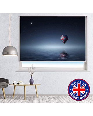 Printed Photo Blind - Hot Air Balloon at Night over the Lake Printed Picture Photo Roller Blind Blackout & Standard Fabric - Custom Made Window Blind/Shade